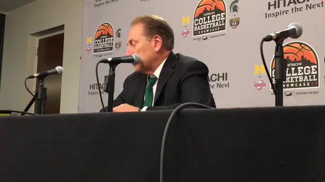 Michigan State coach Tom Izzo, later joined by Oakland coach Greg Kampe, answers questions after MSU's 86-73 win over Oakland on Saturday, Dec. 16, 2017, at Little Caesars Arena. Video by Chris Solari/DFP (Warning: NSFW language new the end.)
