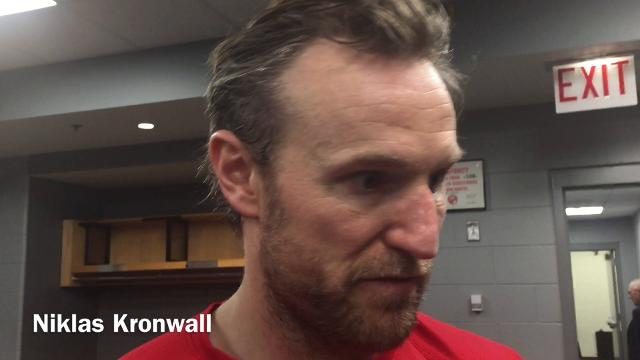 Detroit Red Wings players Henrik Zetterberg, Niklas Kronwall, Tomas Tatar and Petr Mrazek answer questions after the win in Chicago on Sunday, Jan. 14, 2018. Video by Helene St. James/DFP
