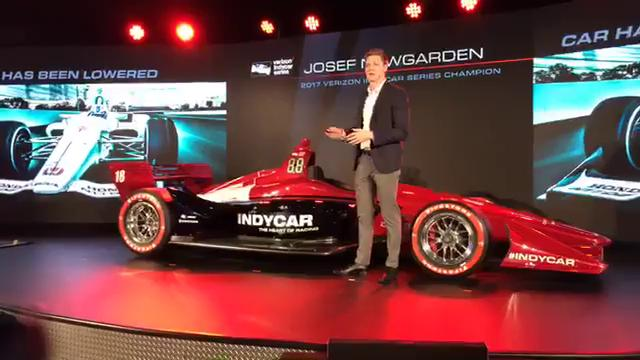 2017 Verizon IndyCar Series champion Josef Newgarden speaks about the new aerodynamic kit for the upcoming season at Cobo Center in Detroit, during the North American International Auto Show on Jan. 16, 2018.