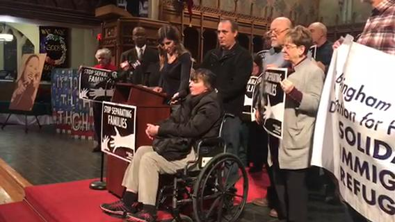 Flora Rranxburgaj, 44, of Southgate, who suffers from multiple sclerosis, speaks inside Central United Methodist Church, about how her husband, Ded Rranxburgaj, 48, takes care of her. ICE wants to deport her husband on Jan. 25.
