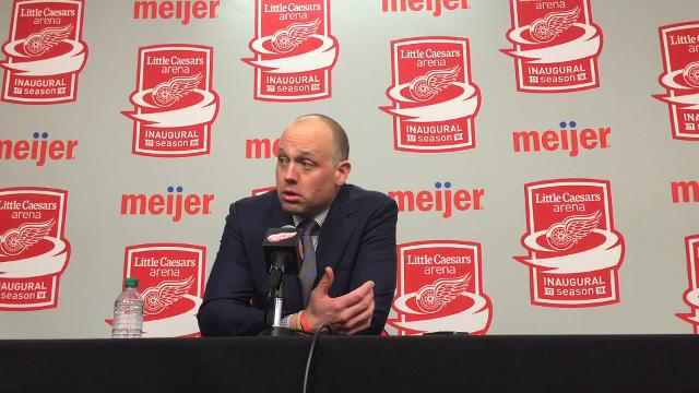 Detroit Red Wings players Henrik Zetterberg, Luke Witkowski and coach Jeff Blashill answer questions after the 4-2 loss to the Stars on Tuesday, Jan. 16, 2018, at Little Caesars Arena. Video by Helene St. James/DFP