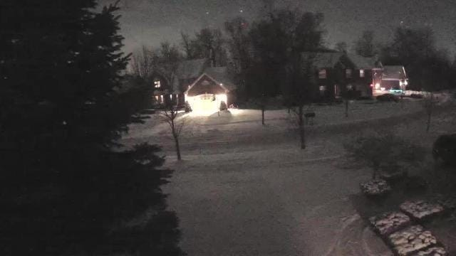Video from a camera on a house in Novi captured a metro flying across the Michigan sky.