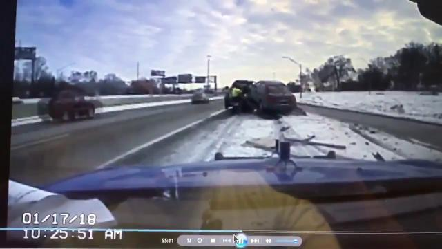 Michigan State Police tweeted this dashcam video Jan. 18, 2018, of an accident that occurred a day earlier on the M-39 ramp to I-96 in metro Detroit.