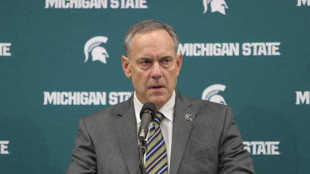 Michigan State's football coach Mark Dantonio held a brief press conference in East Lansing on Friday, Jan. 26 to address reports of the handling of sexual assault allegations.