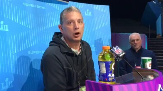 Eagles defensive coordinator Jim Schwartz didn't have much advice for presumed Lions coach Matt Patricia at Super Bowl Opening Night on Monday, Jan. 29, 2018, in Minneapolis. Video by Dave Birkett/DFP