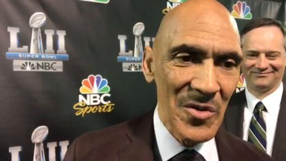 Former Colts and Bucs head coach Tony Dungy on the firing of Jim Caldwell as Lions head coach. Recorded from Super Bowl LII in Minnesota on Tuesday, Jan. 30, 2018.
