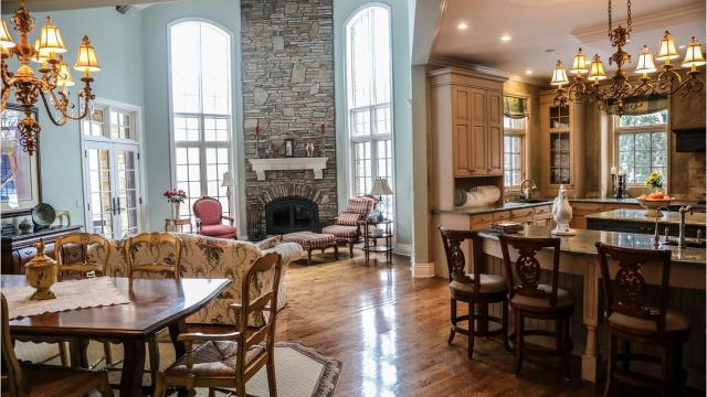 This elaborate mansion in French chateau style sits on 38 acres in Hartland.