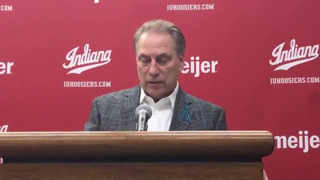Michigan State coach Tom Izzo speaks to the media after the 63-60 win over Indiana on Saturday, Feb. 3, 2018, in Bloomington, Ind. Video by Chris Solari/DFP