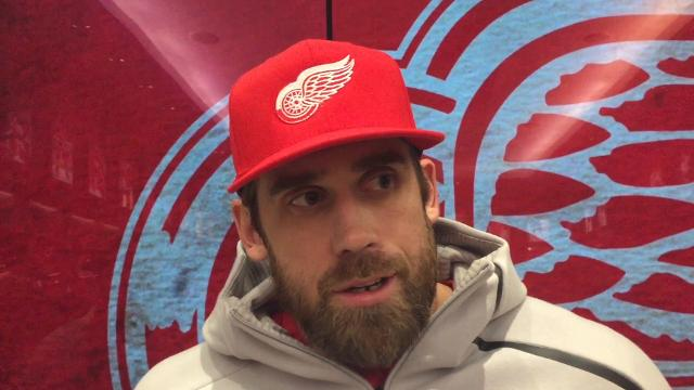 Detroit Red Wings captain Henrik Zetterberg and coach Jeff Blashill answer questions Monday, Feb. 5, 2018 at Little Caesars Arena.