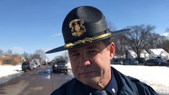 Michigan State Police 1st Lt. Michael Shaw gives an update on the barricaded gunman who allegedly killed two women and wounded three officers on Monday, Feb. 12, 2018.