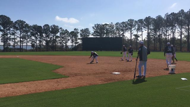 Watch Detroit Tigers manager Ron Gardenhire observer players perform drills at first base on Wednesday, Feb. 14, 2018 in Lakeland, Fla.