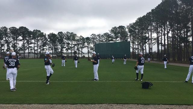 Watch Detroit Tigers warm up on Wednesday, Feb. 14, 2018 in Lakeland, Fla.