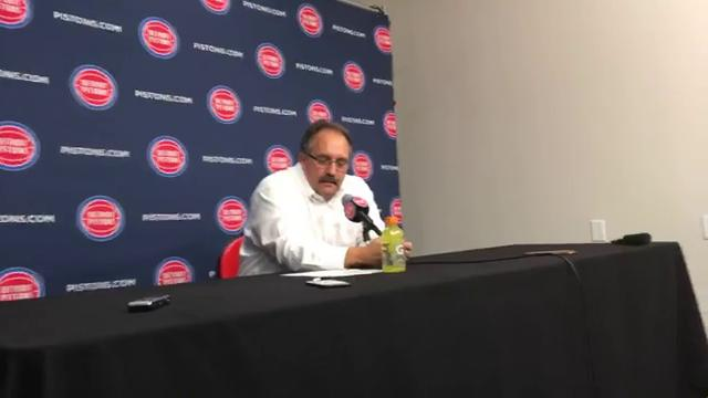 Stan Van Gundy postgame after Pistons nearly blew 30-point lead to the Eastern Conference-worst Hawks on Wednesday, Feb. 14 at LCA. Pistons enter All-Star break 1 1/2 games out of playoffs.