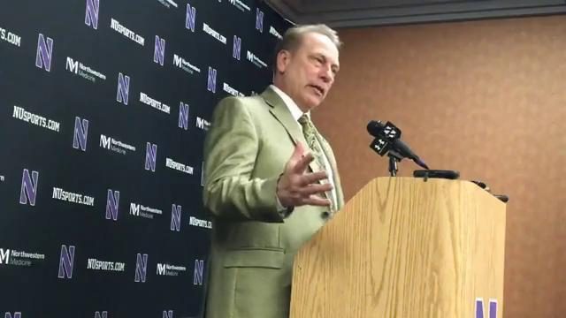 Michigan State coach Tom Izzo answers questions from the media after the 65-60 win over Northwestern on Saturday, Feb. 17, 2018, in Rosemont, Ill.