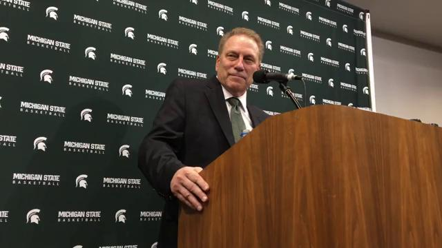 Michigan State coach Tom Izzo speaks to the media after the 81-61 win over Illinois on Tuesday, Feb. 20, 2018, at Breslin Center.