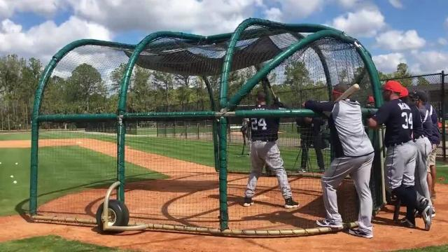 Detroit Tigers first baseman Miguel Cabrera, designated hitter Victor Martinez and pitching prospect Alex Faedo work on their crafts in spring training in Lakeland, Fla. Video by Anthony Fenech/DFP
