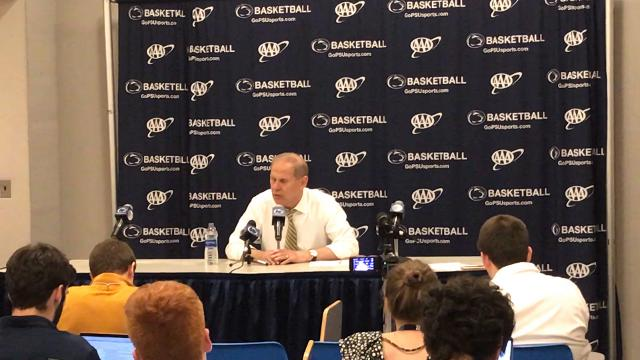 Michigan Wolverines men's basketball coach John Beilein talked after his team defeats Penn State, 72-63, on the road during the Nittany Lions senior day.