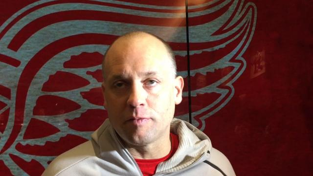 Detroit Red Wings player Xavier Ouellet and coach Jeff Blashill talk trade deadline and Olympics Thursday, Feb. 22, 2018 at Little Caesars Arena.