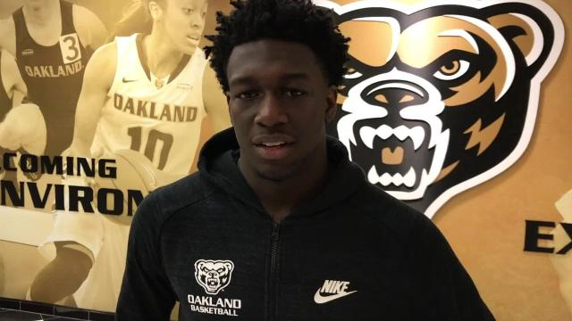 Kendrick Nunn, Oakland Golden Grizzlies Guard, talks about overcoming adversity during the season, being recognized for his play, and how they are going to win in the upcoming NCAA tournament.
