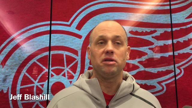 Detroit Red Wings forward Anthony Mantha and coach Jeff Blashill talk hockey humor on Friday, Feb. 23, 2018 at Little Caesars Arena. Video by Helene St. James/DFP