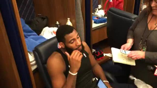 Detroit Pistons center Andre Drummond discusses the challenge of defending Celtics point guard Kyrie Irving after the Pistons' loss on Friday, Feb. 23, 2018 at the Little Caesars Arena.
