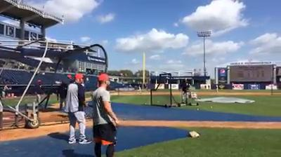 The Detroit Tigers get ready for their exhibition game against the New York Yankees with some batting practice and grounders on Wednesday, Feb. 28, 2018, in Tampa, Fla.