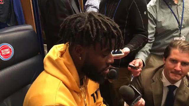 Reggie Bullock discusses his efficient 17-point night in the Pistons' 110-87 win over the Bucks at Little Caesars Arena on Wednesday, Feb. 28.