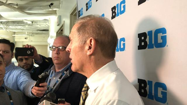 Michigan men's basketball coach John Beilein talks about his team's win over Nebraska on Friday, March 2, 2018 during the Big Ten Tournament at Madison Square Garden in New York City.
