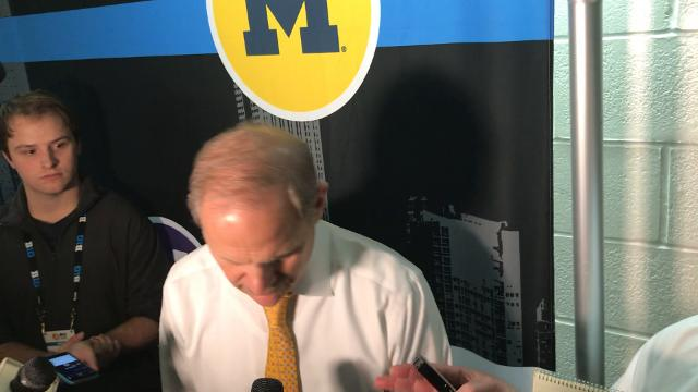 Michigan coach John Beilein speaks to the media after the 75-64 win over Michigan State in the Big Ten tournament semifinal on Saturday, March 3, 2018, in New York. Video by Nick Baumgardner/DFP