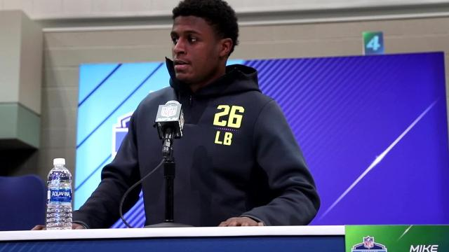 Mike McCray, former Michigan LB answers questions at NFL Combine, Sat. March 3, 2018.
