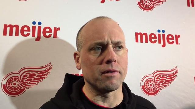 Detroit Red Wings forward Martin Frk and coach Jeff Blashill answer questions Tuesday, March 6 at TD Garden. Video by Helene St. James, DFP.