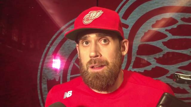 Detroit Red Wings players Henrik Zetterberg and Justin Abdelkader and coach Jeff Blashill talk Thursday, March 8, 2018 at Little Caesars Arena.