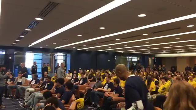 Michigan coach John Beilein speaks to fans and supporters at the team's NCAA tournament brackets watch party on Sunday, March 11, 2018, in Ann Arbor. Video by George Sipple/DFP