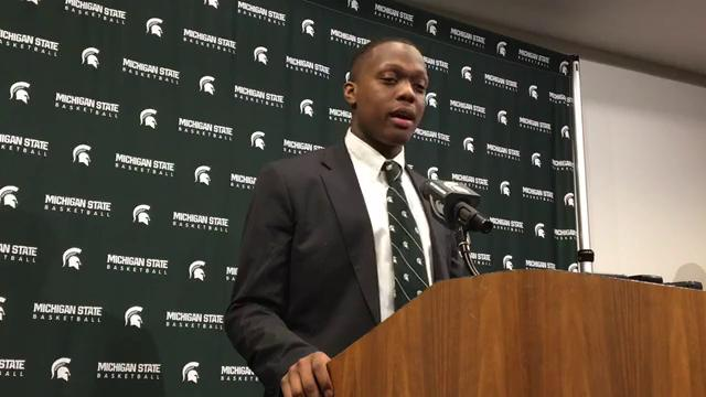 Michigan State guard Cassius Winston speaks to the media after learning their fate for the NCAA tournament on Sunday, March 11, 2018, in East Lansing. Video by Chris Solari/DFP