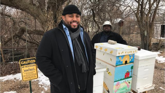 Detroit Hives, a nonprofit, transforms an empty lot in east Detroit into a bee hive farm to support the community and teach the importance of bees in the urban farming landscape.