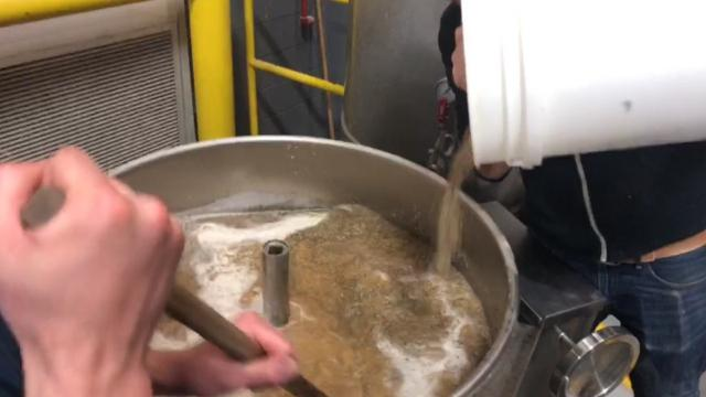 Brewing operations began Friday, March 16, 2018 for Pothole Season, a pale ale made with hemp seeds at Brew Detroit in the city's Corktown neighborhood. Robert Orler, quality and brewery manager explains the process.