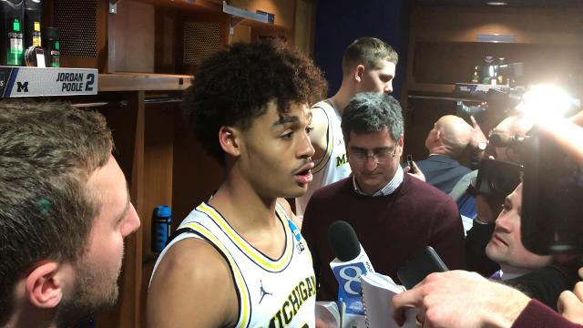 "Michigan basketball's Jordan Poole said he was ""thirsty"" for the ball in the final seconds of their game against Houston. The Wolverines advance to the Sweet 16 after defeating Houston, 64-63."