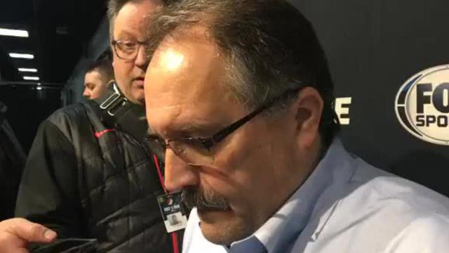 Detroit Pistons coach Stan Van Gundy blasts the officials after the 100-87 to the Portland Trail Blazers, the team's 10th loss in 12 games since the NBA All-Star break.
