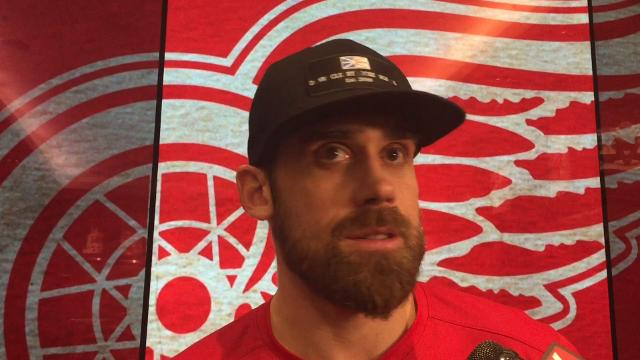 Detroit Red Wings players Henrik Zetterberg, Jimmy Howard and Tyler Bertuzzi and coach Jeff Blashill talk after the 1-0 loss to the Capitals on Thursday, March 22, 2018 at Little Caesars Arena. Video by Helene St. James/DFP