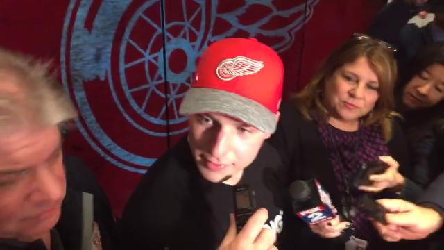 Red Wings defenseman Joe Hicketts speaks after assisting on two goals in his second career NHL game, a 5-2 win over the Penguins at LCA on Tuesday, March 27.