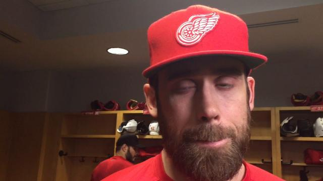 Detroit Red Wings captain Henrik Zetterberg answers questions Tuesday, April 3, 2018, in Columbus, Ohio. Video by Helene St. James/DFP
