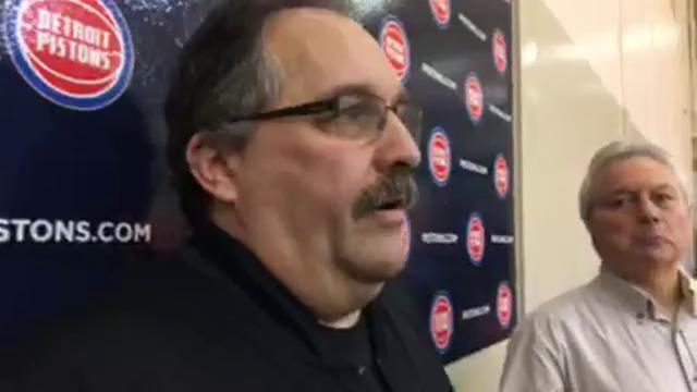 Detroit Pistons coach Stan Van Gundy took questions from the media after practice on Tuesday, April 3, 2018, in Auburn Hills. Video by Vince Ellis/DFP