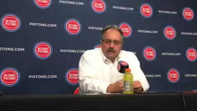 Detroit Pistons coach Stan Van Gundy talks to the media after his team was eliminated from playoff contention after loss to Philadelphia Sixers, 115-108.