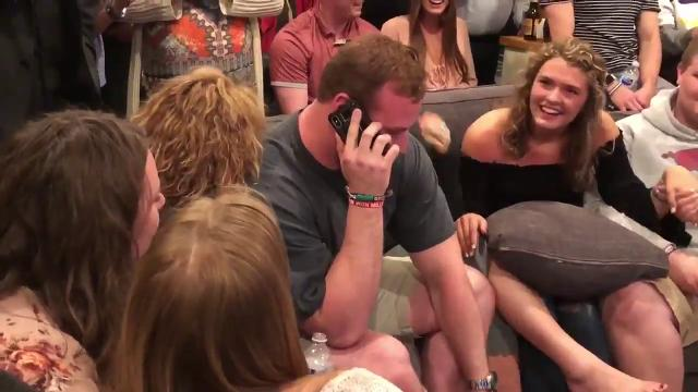 Watch as Arkansas center Frank Ragnow takes a call from the Detroit Lions, who tell him they're taking him with the No. 20 overall selection in the 2018 NFL draft. Video by Pig Trail Nation.