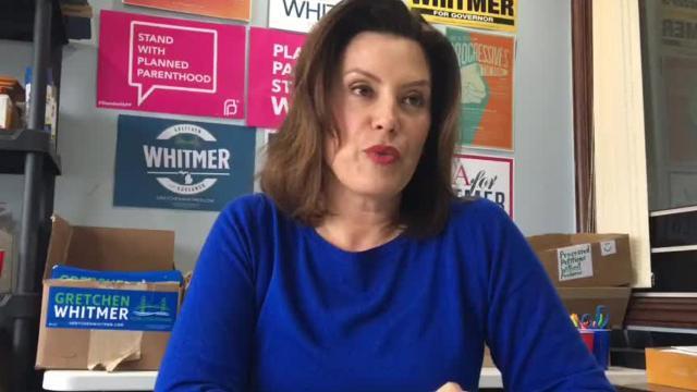 Democratic gubernatorial candidate Gretchen Whitmer talks about her plan to fix Michigan's roads