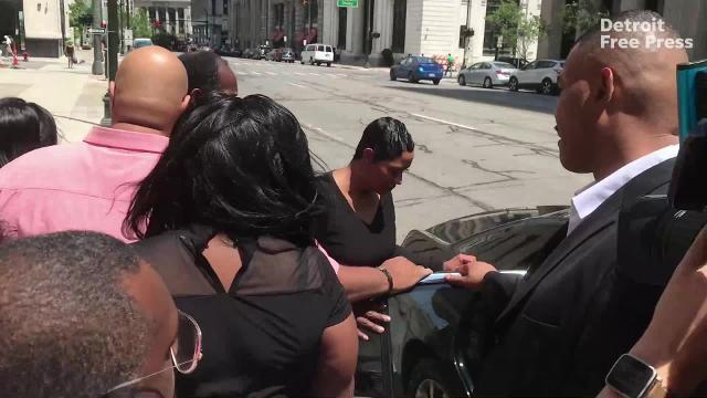"Monica Morgan, widow of the late UAW Vice President General Holiefield, leaves the federal courthouse in Detroit Friday, July 13 after being sentenced to 18 months in prison on a tax charge for her role in the wide-ranging scandal involving misuse of money meant to train Fiat Chrysler Automobiles workers. Morgan will ""self-report"" to prison."