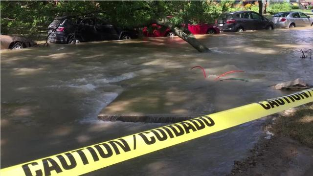 Water main break floods historic Canfield Street in Detroit