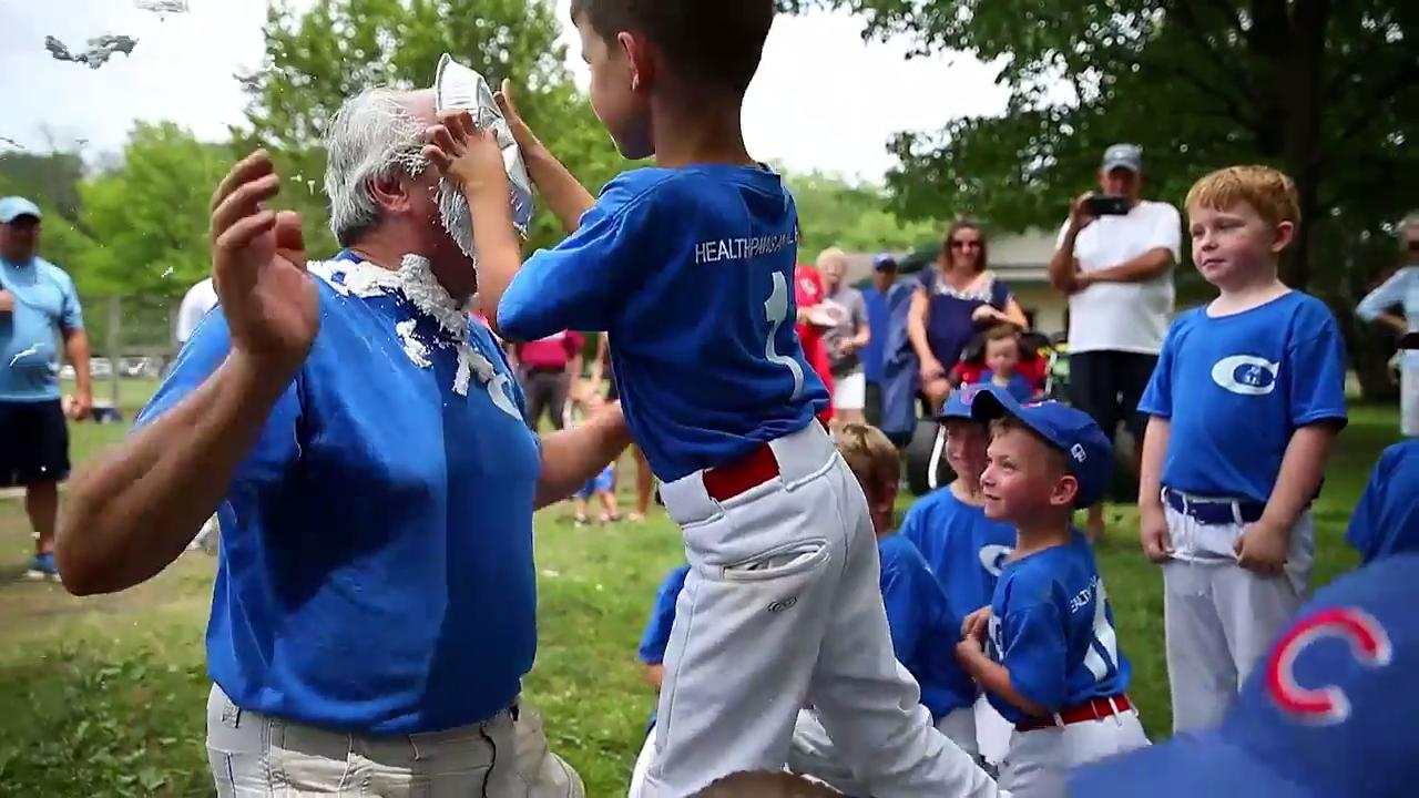 Pee Wee Baseball coach takes pie to the face every game