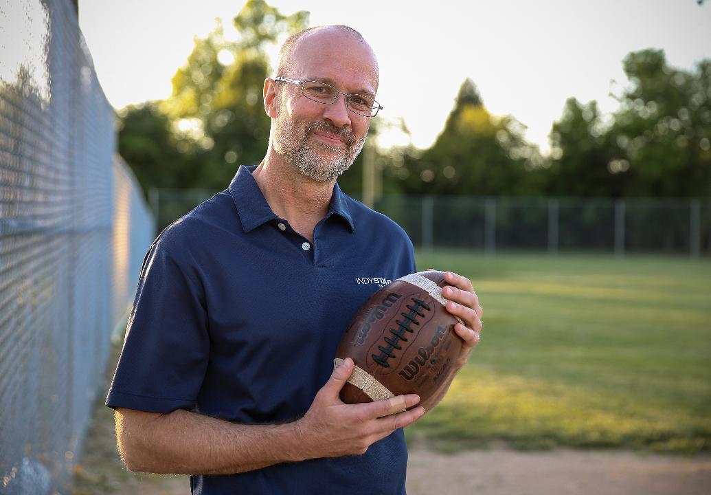 IndyStar sports columnist Gregg Doyel talks about his journey to trace the history of a used football he bought, in Indianapolis, June 2017.