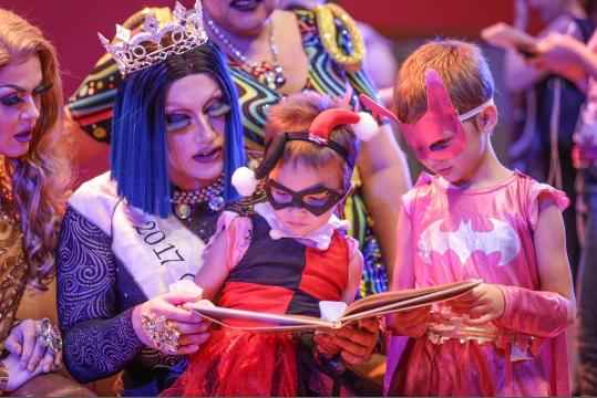 Drag Queen Story Time with the Indy Bag Ladies welcomes all superheroes at the Central Library in Indianapolis on Saturday, July 22, 2017.